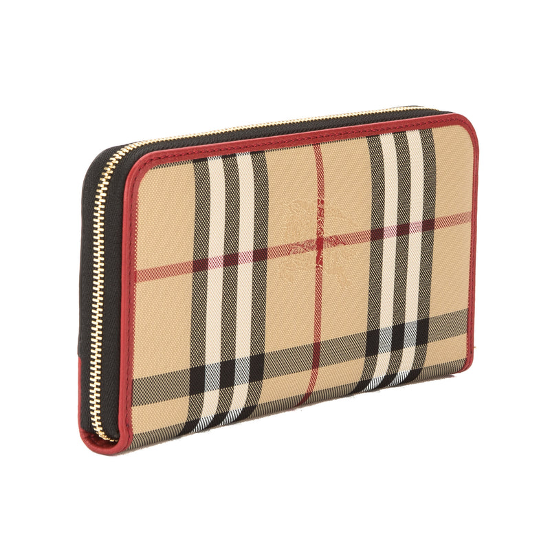 Burberry Parade Red Leather and House Check ZipAround Wallet (New with Tags)