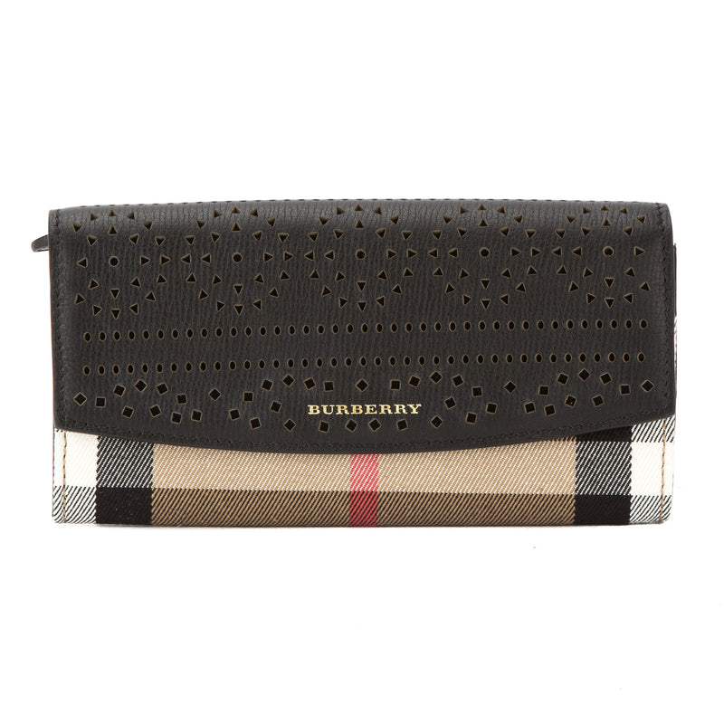 Burberry Black Leather and House Check Continental Wallet (New with Tags)