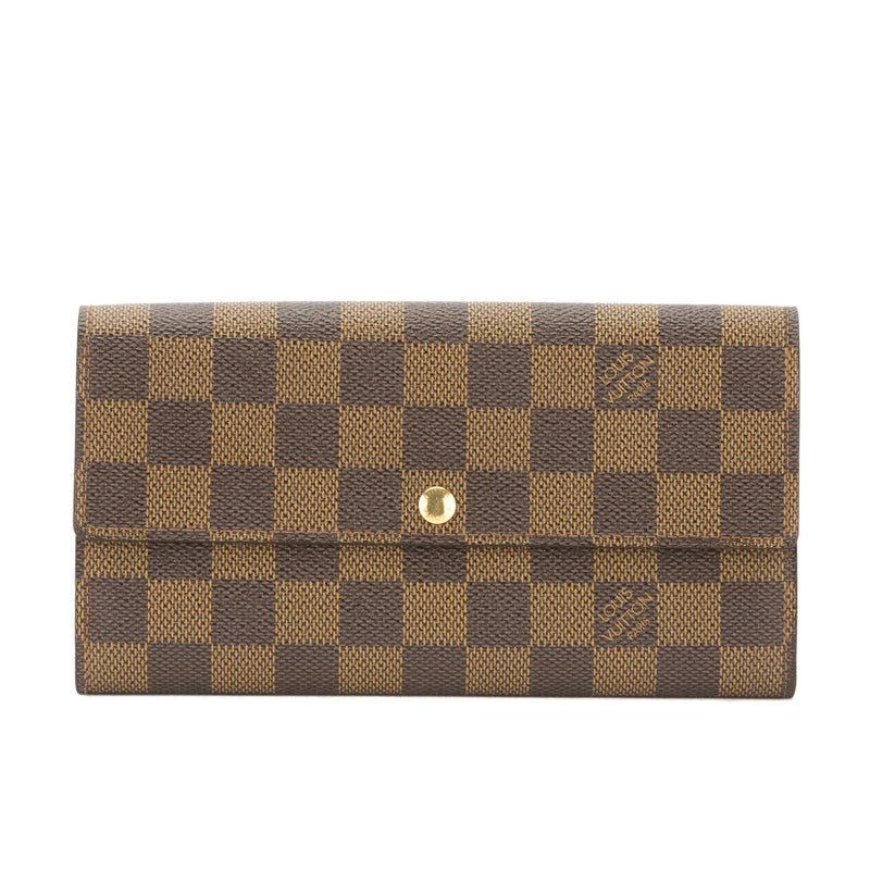 Louis Vuitton Damier Ebene Sarah Long Wallet (Pre Owned)