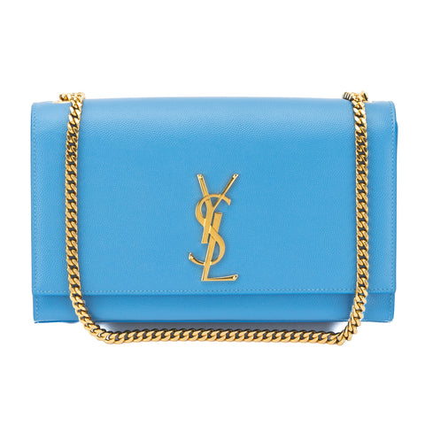 Saint Laurent Bleu Clair Classic Medium Kate Monogram Bag (New with Tags)