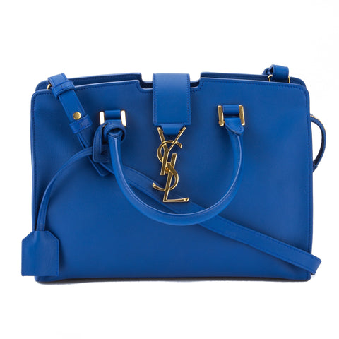 Saint Laurent Royal Blue Leather Baby Monogram Cabas Bag (New with Tags)