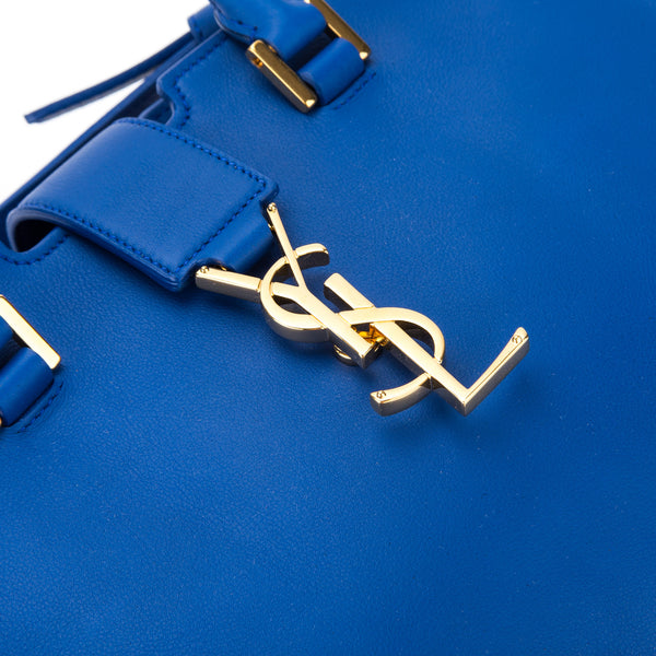 Saint Laurent Royal Blue Leather Baby Monogram Cabas Bag