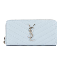 Saint Laurent Baby Blue Matelasse Monogram Saint Laurent Zip Around Wallet (New with Tags)