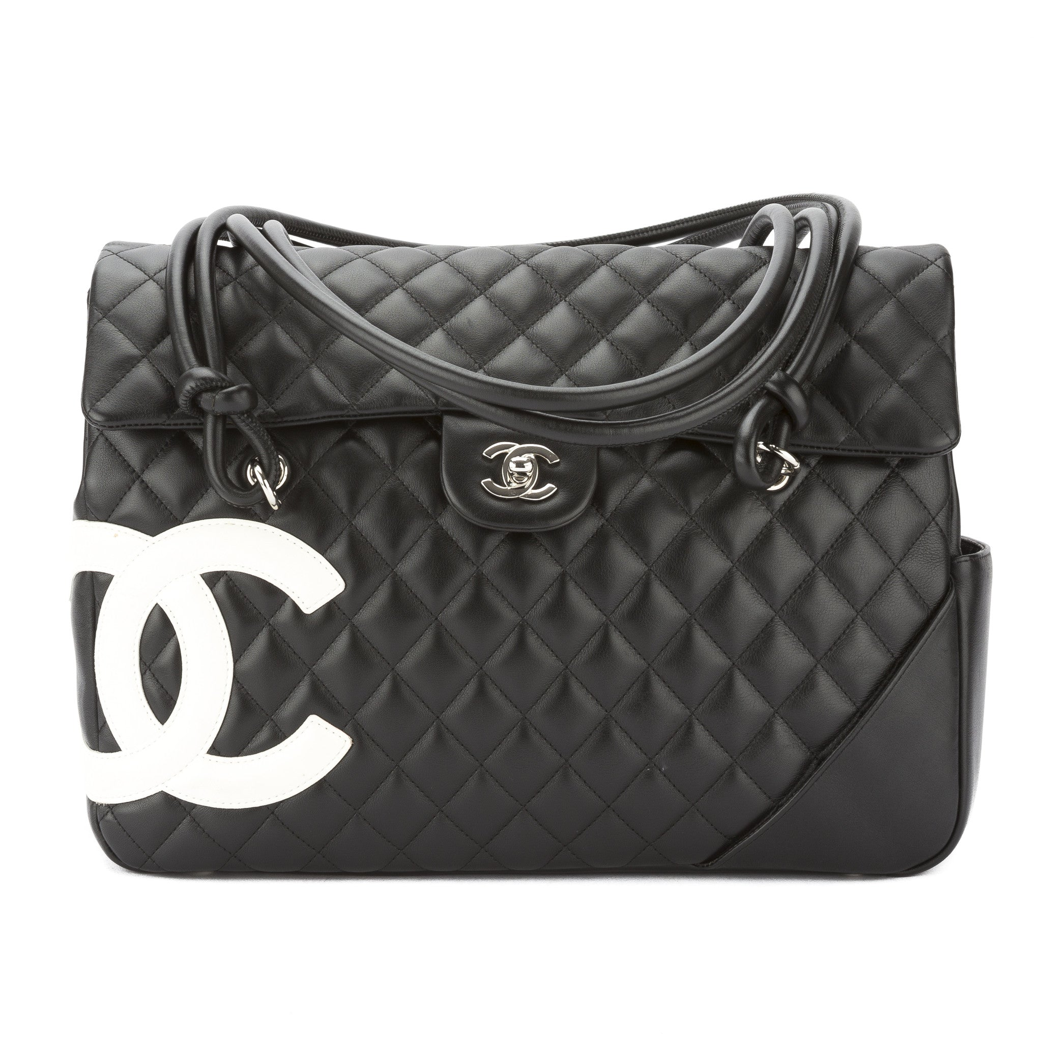 e3ca24e65d04 Chanel Black and White Quilted Leather Ligne Cambon Shoulder Bag Pre Owned