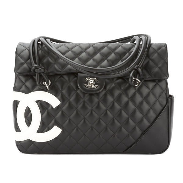 43e35638be30 Chanel Black and White Quilted Leather Ligne Cambon Shoulder Bag Pre Owned