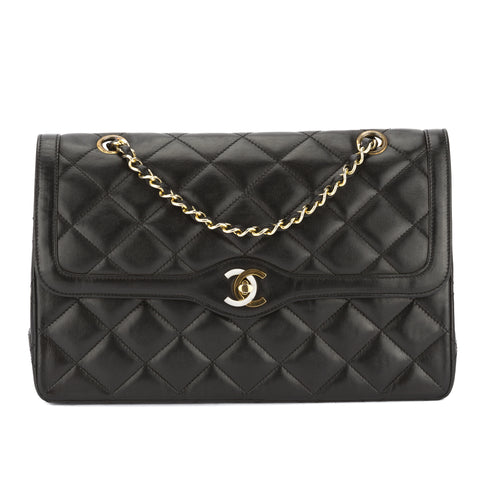 Chanel Black Quilted Lambskin Leather Medium Double Flap Chain Bag (Pre Owned)