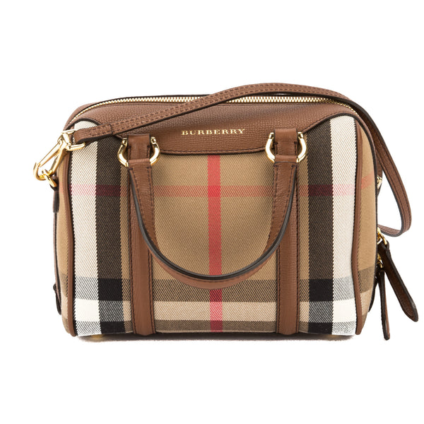 Burberry Tan Leather and House Check Small Alchester Bag (New with Tags) 8ab1fae8659c3