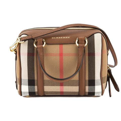 Burberry Tan Leather and House Check Small Alchester Bag (New with Tags)