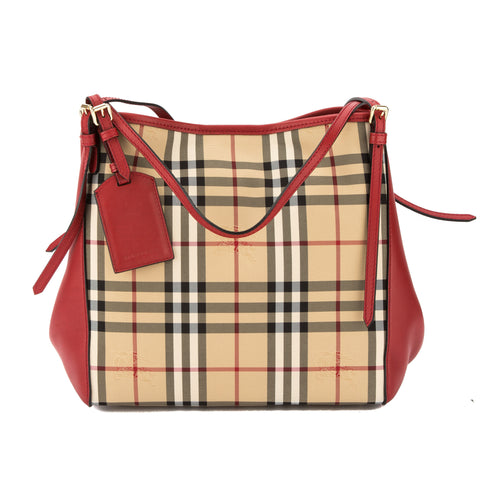 Burberry Parade Red Leather and Horseferry Check Small Canter Tote Bag (New with Tags)