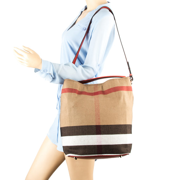 406ff65dedc5 ... Burberry Cadmium Red Leather and Canvas Check Medium Ashby Bag (New  with Tags)