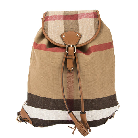 Burberry Tan Leather and Canvas Check Backpack (New with Tags)