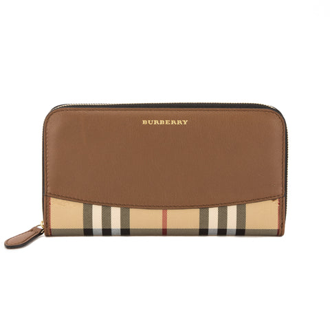 Burberry Tan Leather and Horseferry Check ZipAround Wallet (New with Tags)