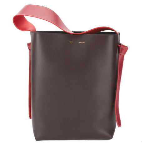 Celine Burgundy Leather and Felt Small Twisted Cabas Bag (New with Tags)