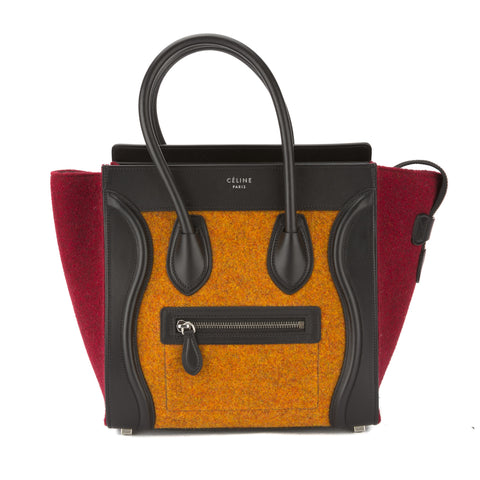 Celine Orange Multicolour Felt Micro Luggage Handbag (New with Tags)