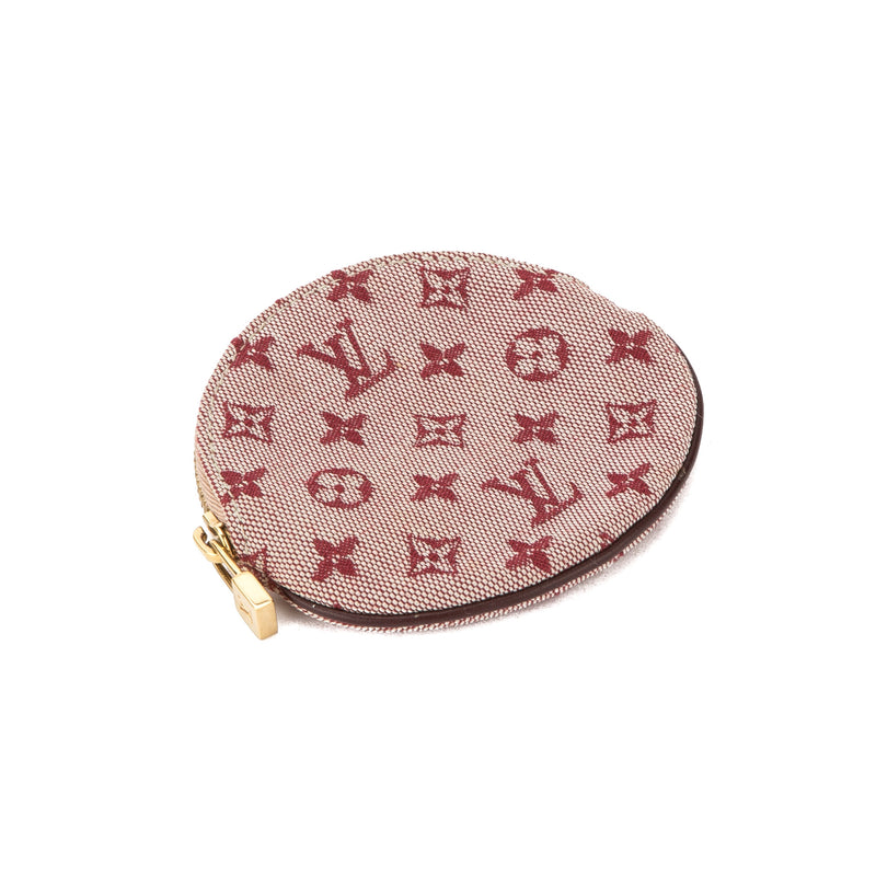 Louis Vuitton Red Monogram Mini Lin Porte-Monnaie Ronde Coin Case (Pre Owned)