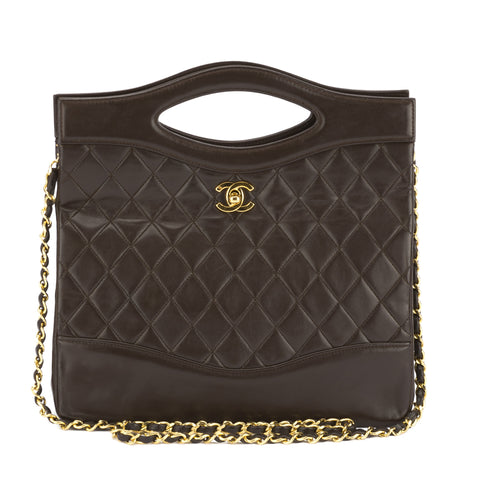 Chanel Brown Quilted Lambskin Leather Matelasse Bag (Pre Owned)