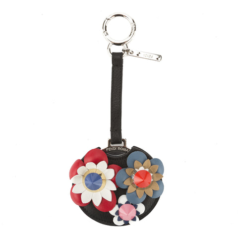 Fendi Black Leather Flower Mirror Bag Charm (New with Tags)