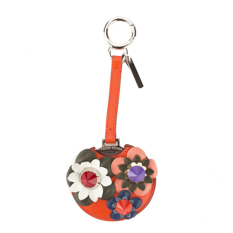 Fendi Red Leather Flower Mirror Bag Charm (New with Tags)
