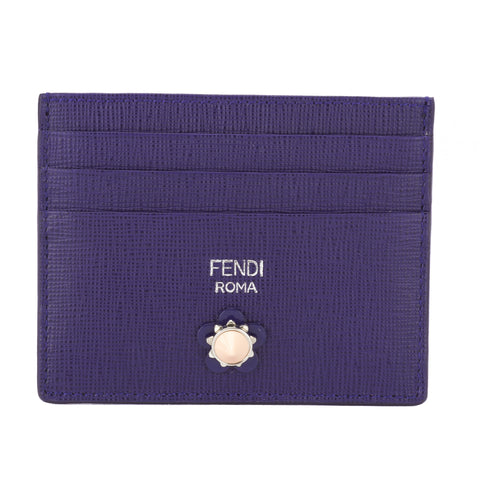 Fendi Purple Rain Leather Flowers Card Case (New with Tags)