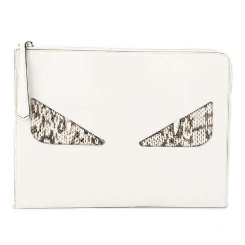 Fendi Ice White Leather and Snakeskin Large Monster Flat Clutch (New with Tags)