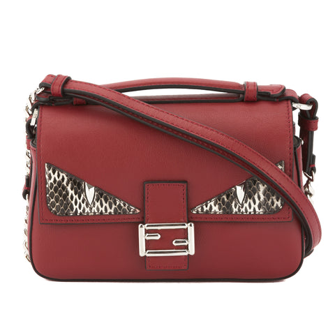 Fendi Currant Red Leather Double Micro Baguette (New with Tags)