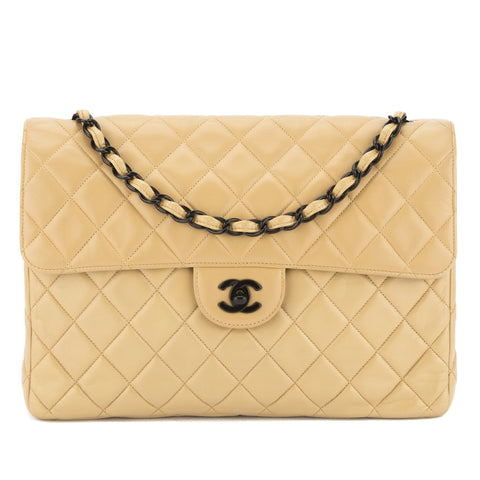Chanel Beige Quilted Lambskin Leather Jumbo Messenger Bag (Pre Owned)