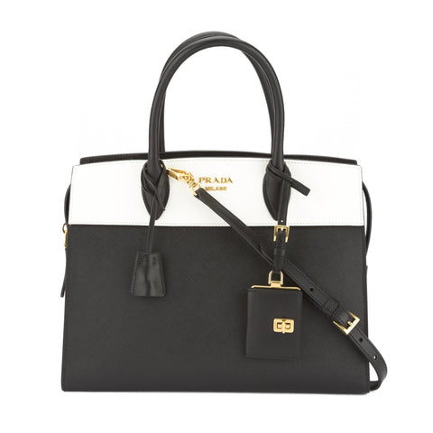 Prada White and Black Saffiano Esplanade Bag (New with Tags)