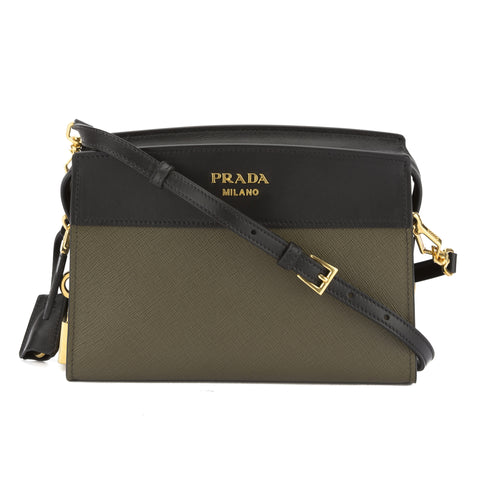 Prada Military Green and Black Saffiano Esplanade Bag (New with Tags)