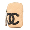 Chanel Beige and Black Quilted Lambskin Leather Cambon Cigarette Case (Pre Owned)