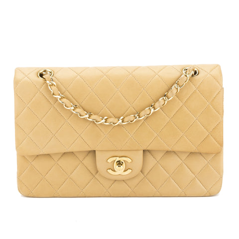 Chanel Beige Quilted Lambskin Leather Medium Double Flap Bag (Pre Owned)