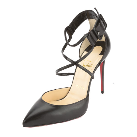 Christian Louboutin Black Leather Suzanna 100mm Crisscross Pump (New with Tags)