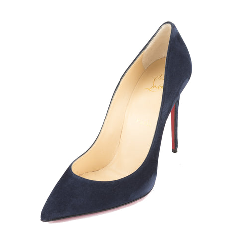 Christian Louboutin Velour Blue Suede Pigalle Follies 100mm Pump (New with Tags)