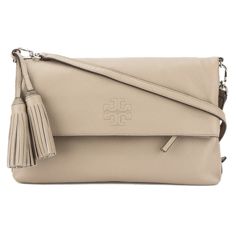 Tory Burch French Gray Leather Thea Fold Over Messenger Bag (New With Tags)