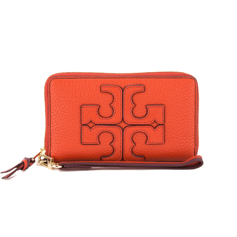 Tory Burch Red Canyon Leather Contrast Logo Smartphone Wristlet (New With Tags)