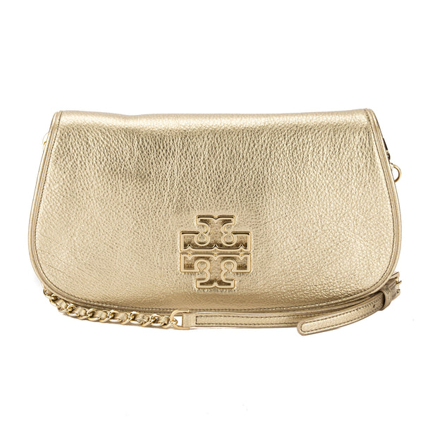 086f735dca Tory Burch Gold Leather Britten Mini Crossbody Bag (New With Tags ...