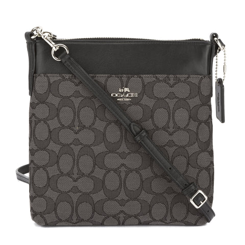 Coach Black Signature Fabric North/South Swingpack Bag (New with Tags)