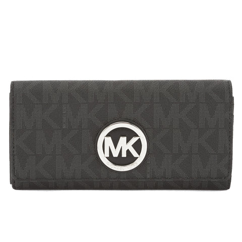 Michael Kors Black Jacquard Fulton Logo Carryall Wallet (New with Tags)