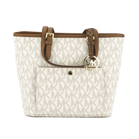 Michael Kors Vanilla Leather Logo Jet Set Medium Snap Pocket Top Zip Tote (New with Tags)