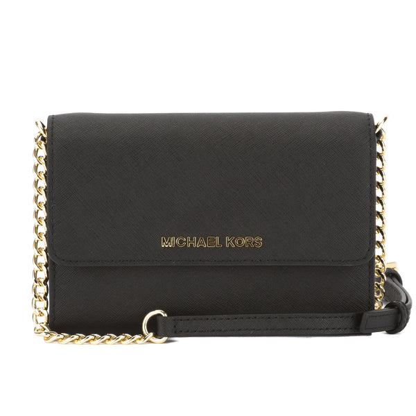 817765a85510 Michael Kors Black Saffiano Leather Jet Set Travel Large Phone Crossbody Bag  New with Tags