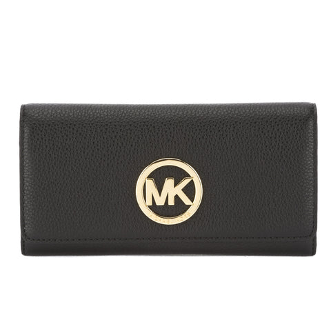 Michael Kors Black Leather Fulton Carryall Wallet (New with Tags)