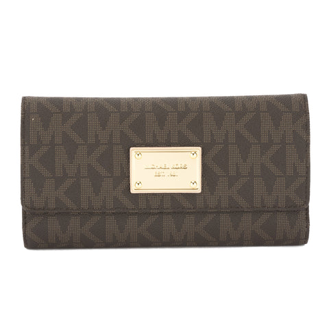 Michael Kors Brown Leather Logo Jet Set Checkbook Wallet (New with Tags)