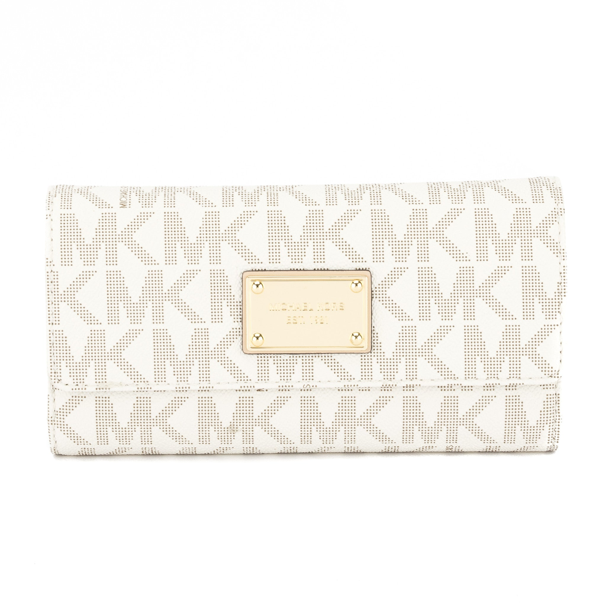 e92f20c2e7ae Michael Kors Vanilla Leather Logo Jet Set Checkbook Wallet (New with T -  3248015 | LuxeDH