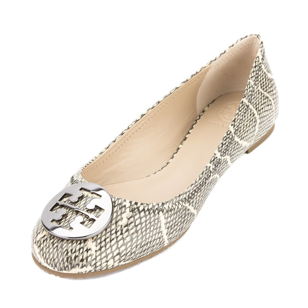 b0c56883802 Tory Burch Black and Natural Cobra Print Leather Reva Ballet Flat New With  Tags