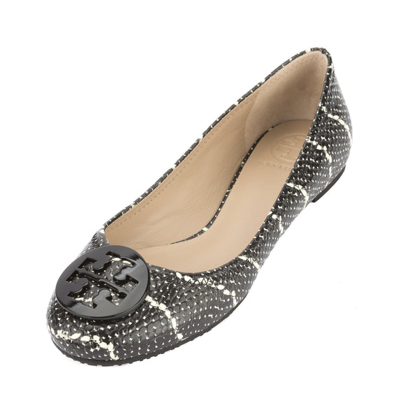 6e2eac41ddc Tory Burch Black and Ivory Cobra Print Leather Reva Ballet Flat New With  Tags