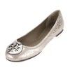 Tory Burch Silver Pewter Metallic Cobra Print Leather Reva Ballet Flat, Size 36.5 (New With Tags)