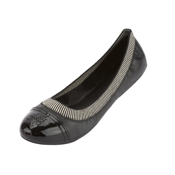 Tory Burch Black Leather Gabby Ballet Flat, Size 37 (New With Tags)