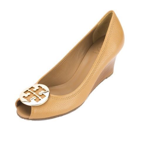 Tory Burch Royal Tan Leather Peep Toe Sally 2 Wedge (New With Tags)