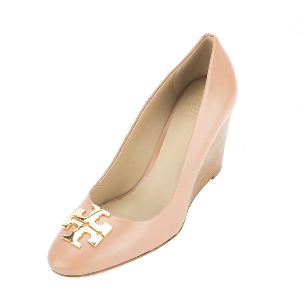 Tory Burch Blush Oak Leather Raleigh Wedge Pump, Size 39.5 (New With Tags)
