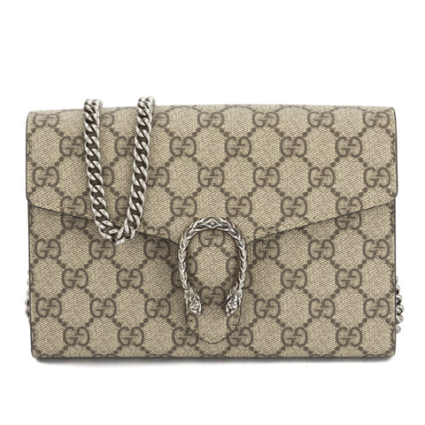 Gucci Beige Coated Canvas Dionysus Chain Strap Wallet (New with Tags)