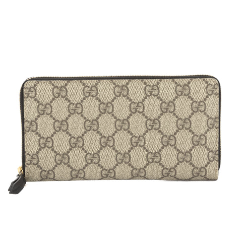 Gucci Beige and Ebony GG Supreme Zip Around Wallet (New with Tags)